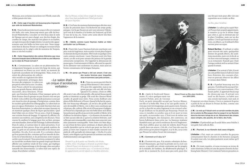 Dans le Paris de Marcel Proust, page 149 France Culture Papiers n°12