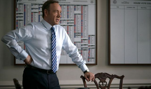 Le personnage principal d'House of Cards, Frank Underwood incarné par Kevin Spacey