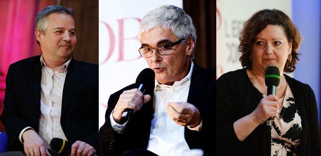 Les invités de la table ronde Science publique à la Sorbonne. Gérard Dubey, Jean-Paul Laumond et Daniela Cerqui.