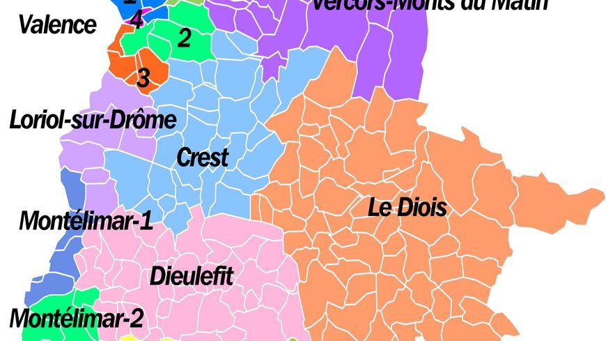La carte des nouveaux cantons de la Drôme (2015)