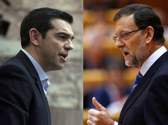 Alexis Tsipras et Mariano Rajoy