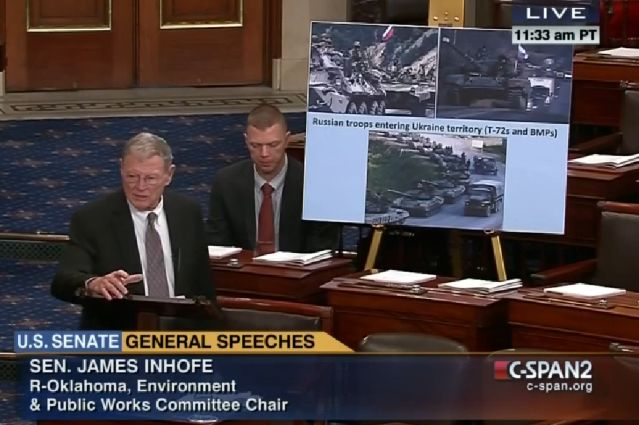 Capture d'écran de l'intervention de James Inhofe devant le Sénat américain le 11 février 2015 - C-SPAN