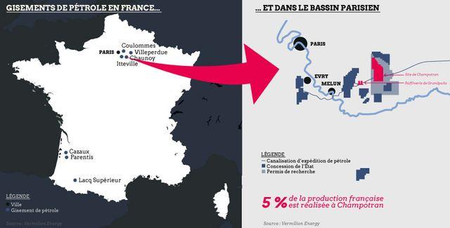 Les gisements de pétrole en France