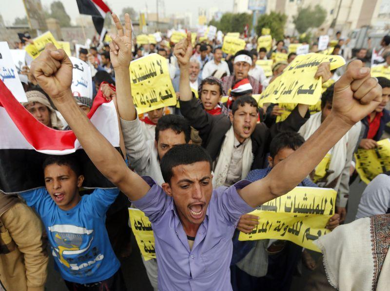 Manifestation en faveur du président Hadi et contre les milices Houtis, à Sanaa le 23 février.