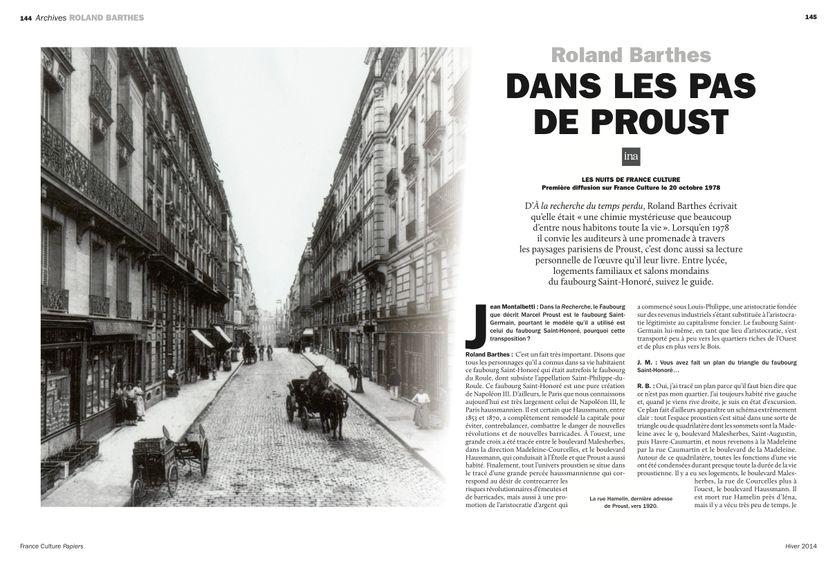 Dans le Paris de Marcel Proust, page 145 France Culture Papiers n°12