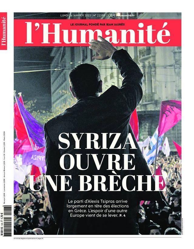 La Une au lendemain de la victoire de Siriza en Grèce