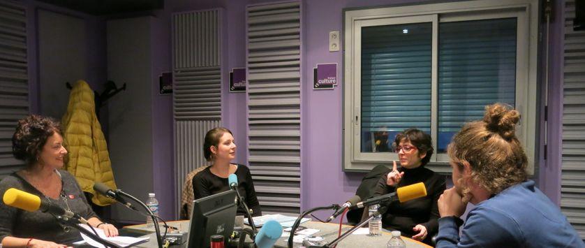 France Culture, studio 153... Aline Pailler, Elodie Chaumette, Emmanuelle Laborit & Yvan Corbineau (de g. à d.)