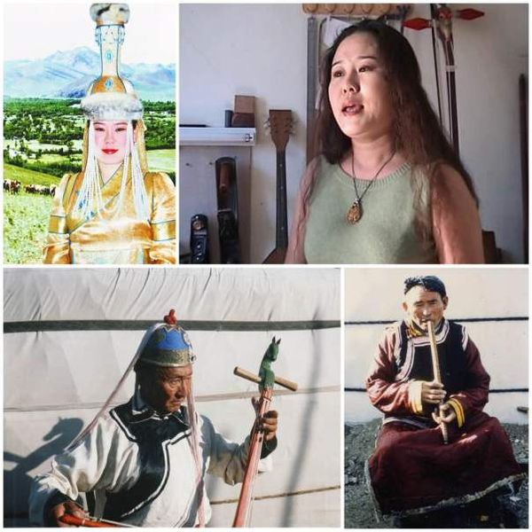La chanteuse Narantuya en tenue de scène (Photo 1) et interprétant un chant long (Photo 2). Morin huur Dashdorj zahtcin (Photo 3). Narantsogt, joueur de flûte droite tsuur (Photo 4) - © Alain Desjacques  )