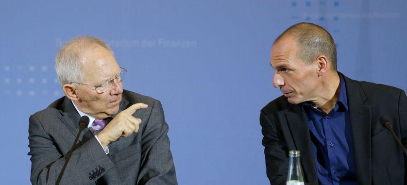 Wolfgang Schauble et Yanis Varoufakis