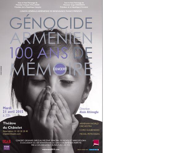 Génocide arménien - 100 ans de mémoire : un Concert pour la vie au Théâtre du Châtelet