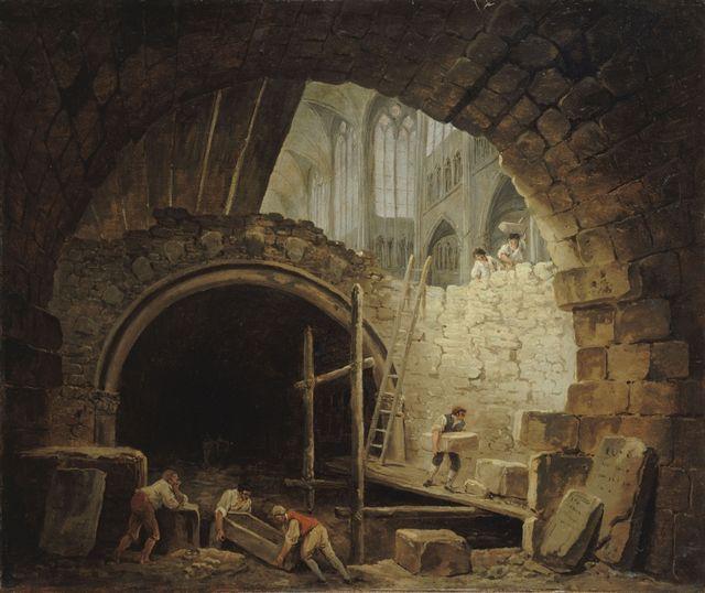 La violation des caveaux des rois dans la basilique de Saint-Denis - par Hubert Robert - 1793