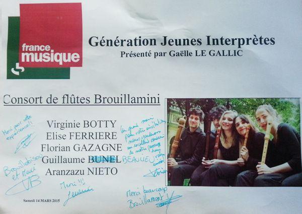 Dédicace Génération jeunes interprètes Ensemble Brouillamini