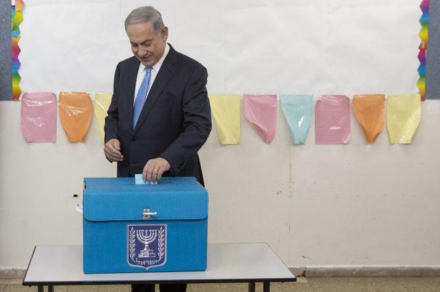 Le Premier ministre israélien, Benjamin Netanyahu, 17 mars 2015 à Jérusalem, lors du vote aux élections parlementaires.