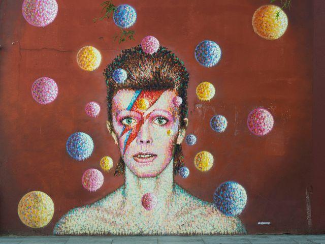 Fresque murale représentant David Bowie, 29 août 2014, Londres, Grande-Bretagne.
