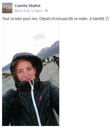 Message posté sur la page Facebook de Camille Muffat le 6 mars 2015