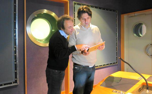 France Musique, studio 142, ces messieurs préparent... Jean-Efflam Bavouzet & Bruno Mantovani (de g. à d.)  © Annick Haumier-Radio France