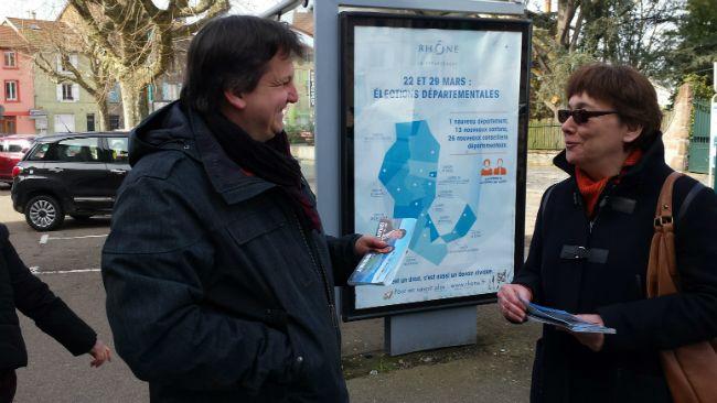 Emmanuel Girard et Anne Reymbaut, candidats PS dans le canton de Thizy. Magazine de la rédaction - départementales