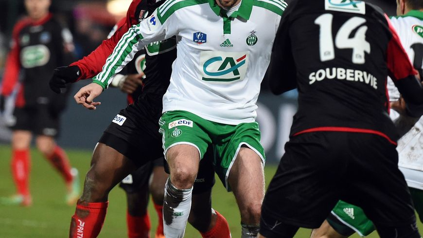 Benjamin Corgnet à la lutte face à Boulogne en 1/4 de finale de la coupe de France