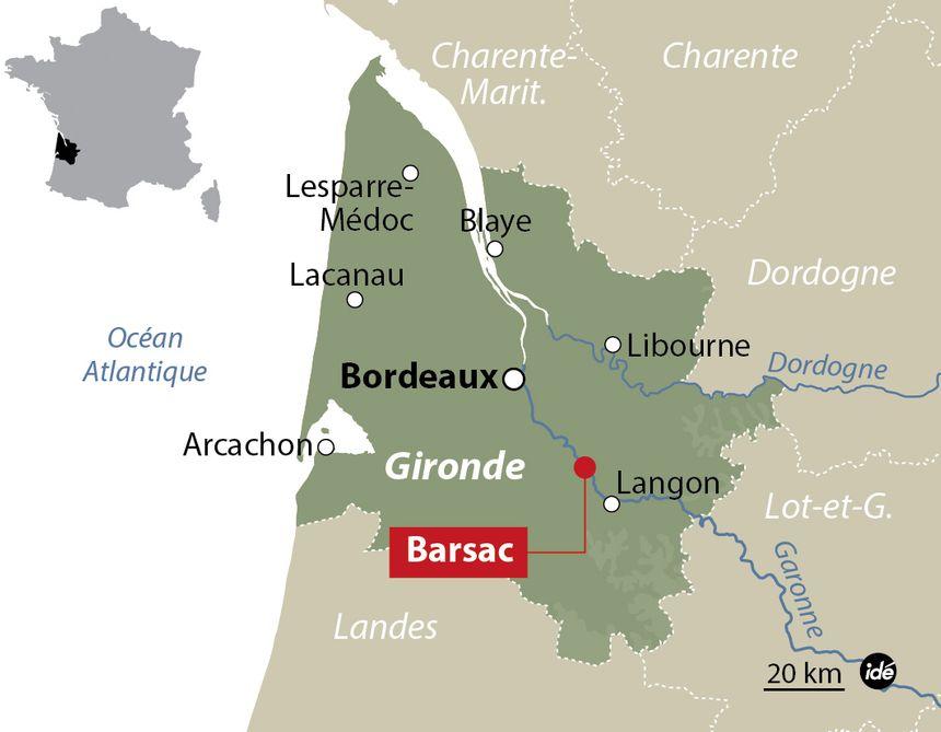 La commune de Barsac en Gironde.