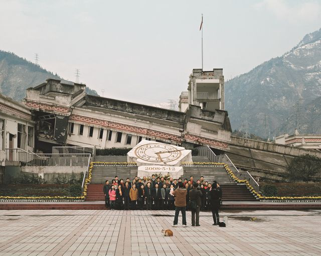 Ruines à Yingxiu en Chine, stigmates du séisme de 2008