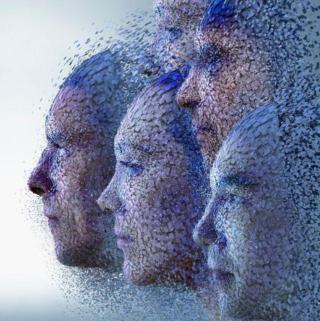 Nuages de données formant des visages