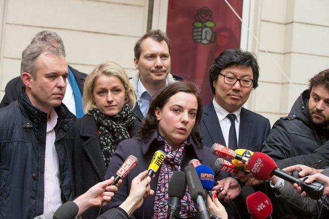 les dirigeants de Europe Ecologie les verts Emmanuelle Cosse, Jean-Vincent Placé, Francois de Rugy et Barbara Pompili au siège d