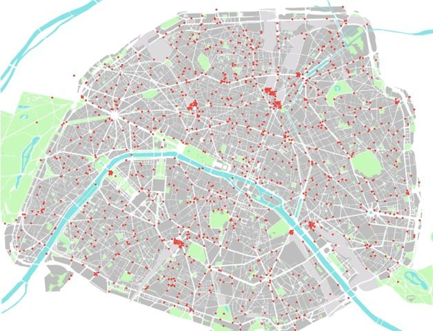 Géolocalisation des arrêts cardiaques survenus sur la voie publique à Paris entre 2000 et 2010