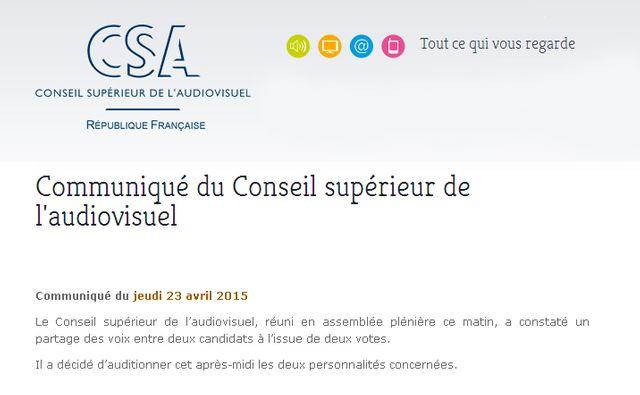 Le communiqué du CSA