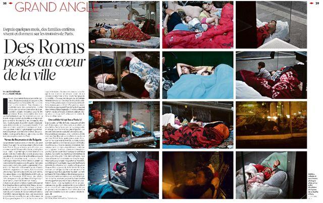 """""""Des Roms posés au cœur de la ville"""", extrait de Libération du 3 octobre 2013."""