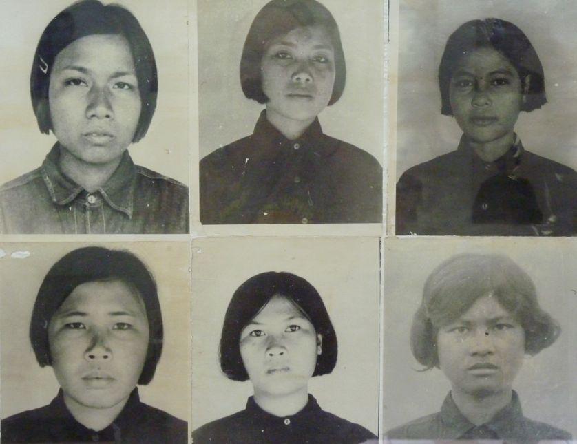 Photos de victimes dans la prison de Tuol Sleng