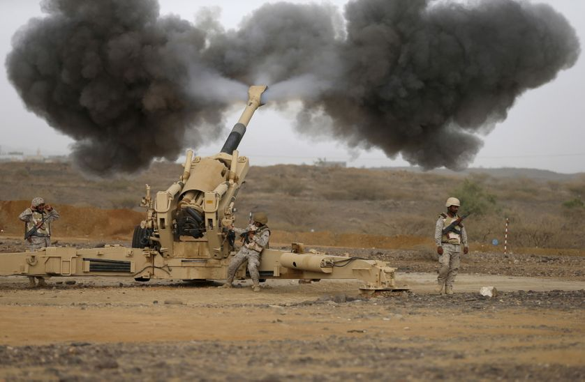 Saudi army artillery fire shells towards Houthi positions, from the Saudi border with Yemen.