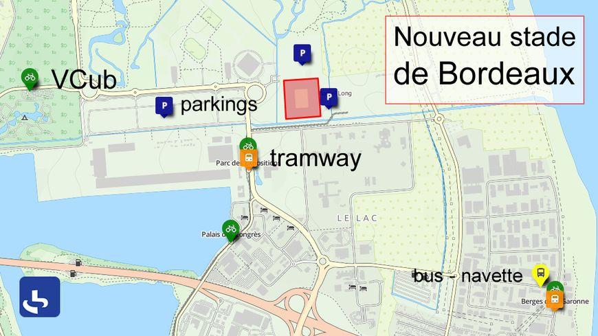 Parkings, stations VCub et arrêts de tram près du Nouveau stade