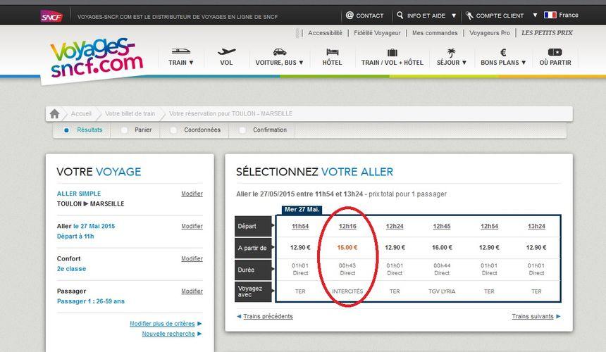 Le train de 12h16 en gare de Toulon pourrait disparaître.
