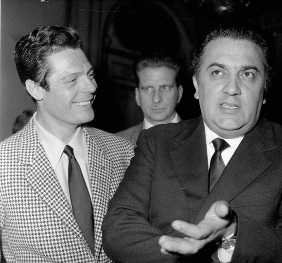 Marcello Mastroianni et Federico Fellini