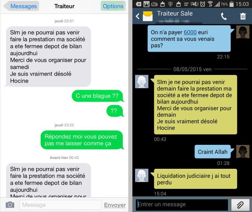 L'escroc envoyait toujours le même SMS quelques jours avant pour annuler sa prestation au mariage.