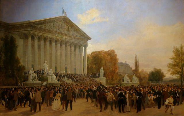 Annonce de l'abolition du régime impérial devant le palais du corps législatif à Paris le 04/09/1870 par J. Didier et J. Guiaud