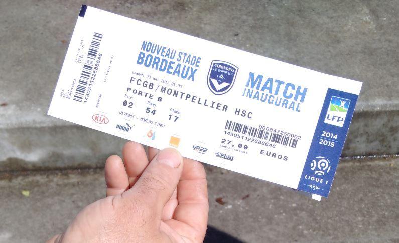 Le billet d'un supporter des Girondins pour le match inaugural au Nouveau stade le 23 mai 2015