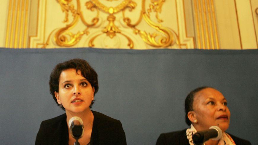 Najat Vallaud Belkacem ministre de l'Education nationale et Christiane Taubira, ministre de la Justice, à Grenoble 04 mai 2015