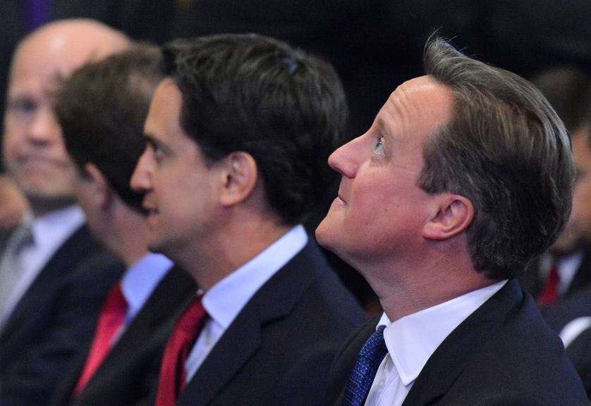 Britain's Prime Minister David Cameron and the leader of the opposition Labour Party Ed Miliband.