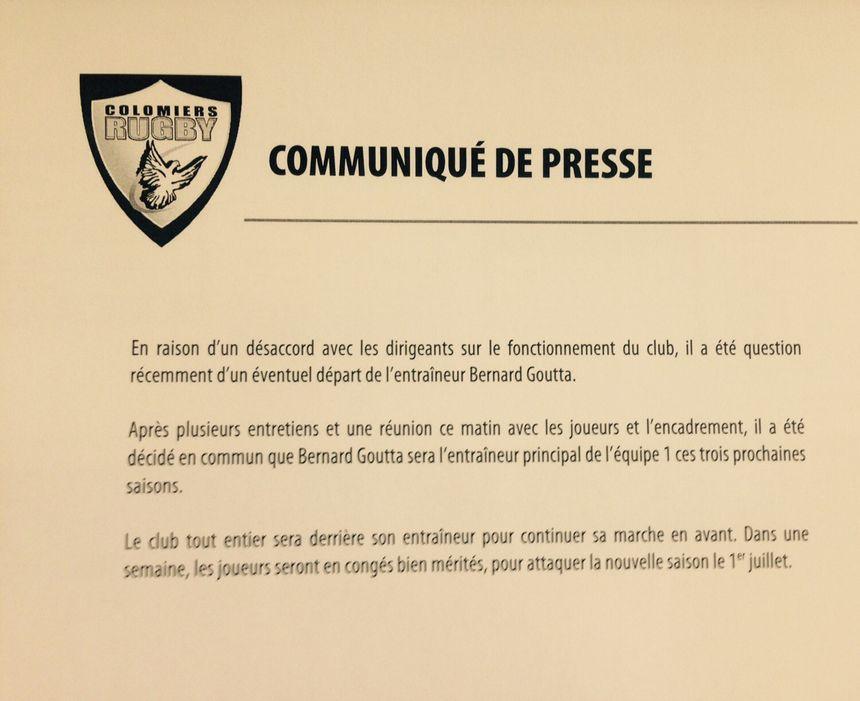 Bernard Goutta, entraîneur de Colomiers, confirmé le sur banc.