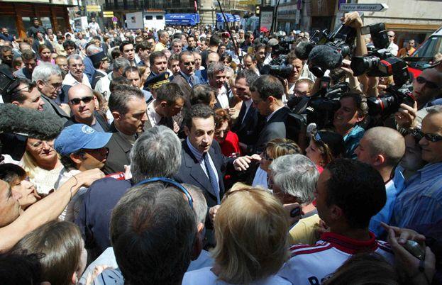 Le ministre de l'Intérieur Sarkozy en visite à Perpignan le 3 juin 2005