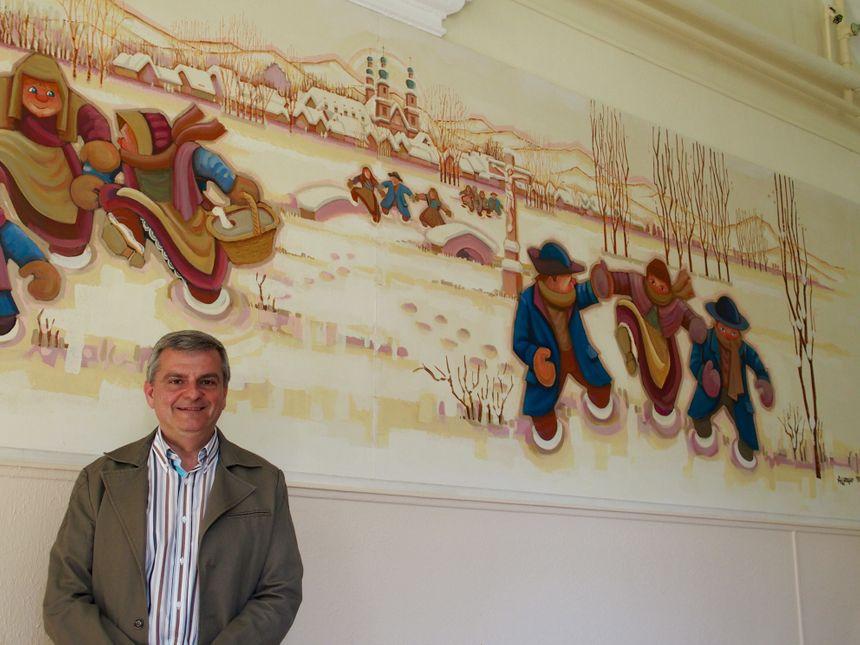 Ebersmunster, Yves Alberti devant la fresque