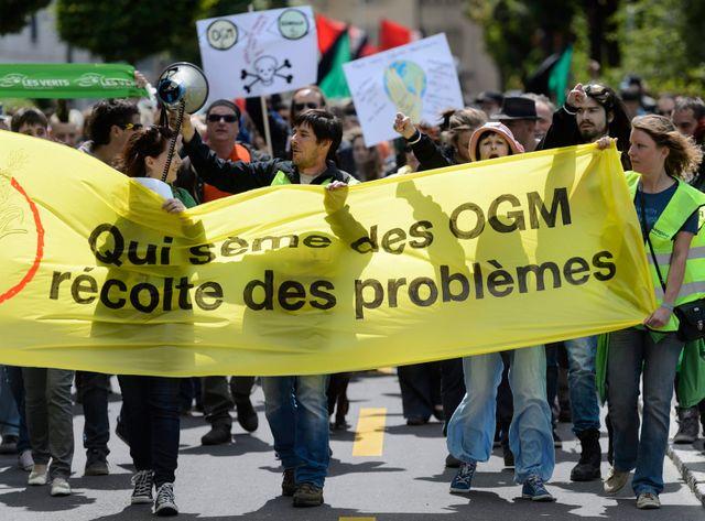 Devant le siège européen de Monsanto à Morges, en Suisse.