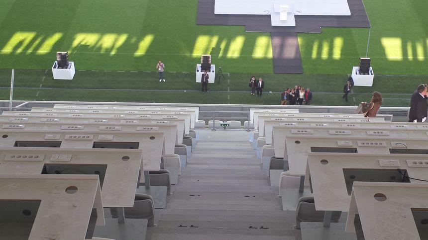 La tribune de presse du Nouveau Stade de Bordeaux