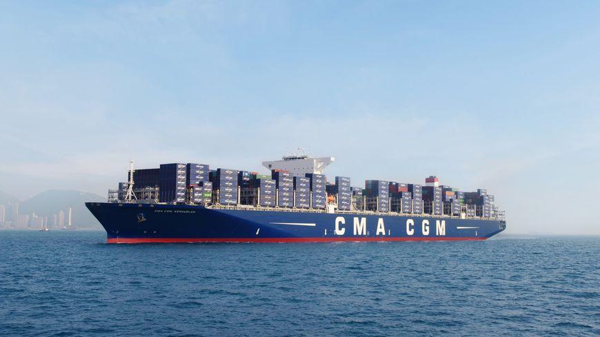 Le CMA CGM Kerguelen, plus grand navire du groupe, baptisé au Havre le mardi 12 mai (ici à Hong-Kong).
