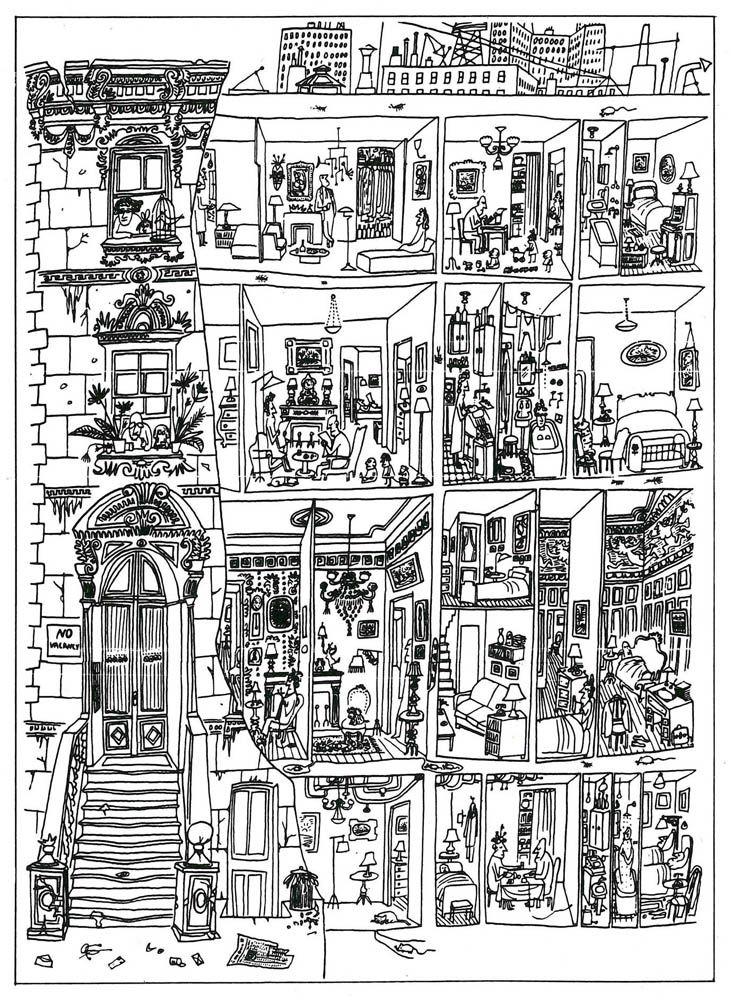 The art of living de Saul Steinberg (une des influences de Georges Perec)