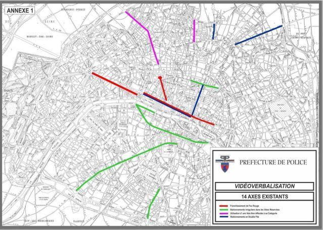 Carte vidéo verbalisation 14 axes à Paris