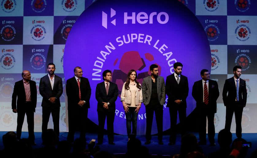 Cérémonie de l'Indian Super League, ligue de football professionnelle indienne crée en 2013.