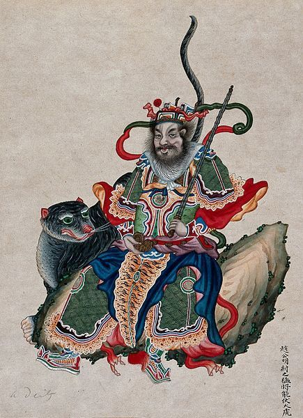 A Chinese deity with sword accompanied by a tiger. Gouache
