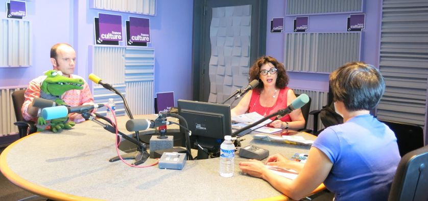 France Culture, studio 153, pendant l'émission ... David Delabrosse & Chico le croco, Aline Pailler, Marina Jolivet